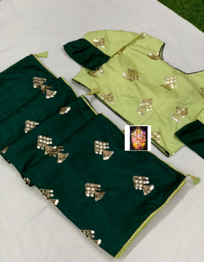 green saree -dola silk |blouse -fancy full stitch size 42-44 fabric embrodiery seqeunce work party wear
