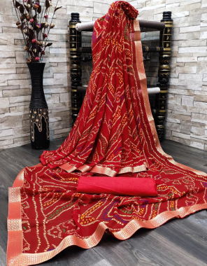 red georgette fabric bandhani work ethnic