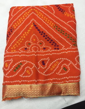 orange georgette fabric bandhani work party wear