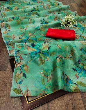 light green saree - pure soft organza | blouse -banglori satin fabric digital printed  work running