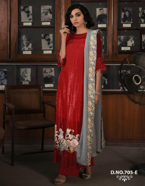 red top - georgette   bottom + inner -santoon  dupatta -chiffon   type -semi stitch  size -fit upto 56  fabric embroidery seqeunce work festive