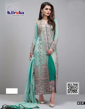 rama sky  top - georgette  bottom +inner -santoon   dupatta - net   type -semi stitched  size -fit upto 56  length - 48  fabric embroidery zari lace work work casual