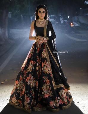 black lehenga - heavy japan satin | inner -santoon|dupatta -net | blouse -satin banglori silk |lenaga falir-2.75+ |height -44 |waist 41+ | type -semi stitched fabric embroidery work wedding