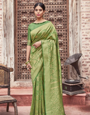 parrot soft lichi silk fabric weaving jacqaurd work wedding