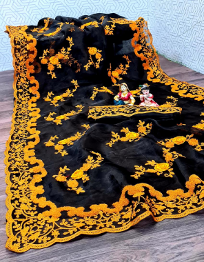 black yellow saree -organza silk   blouse -banglori silk fabric embroidery work ethnic