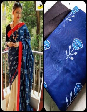 blue saree -chanderi cotton linen |blouse -banglori satin fabric printed work ethnic