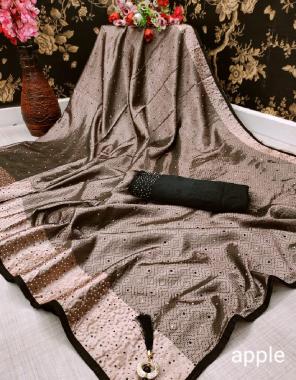 chiku saree -mastani jacqaurd fancy |blouse -satin banglori fabric sliver black diamond work running
