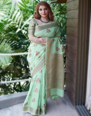 pista soft linen silk fabric weaving jacqaurd work party wear