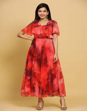 red marron georgette   length - 52   flair -3.5m fabric digital print work casual