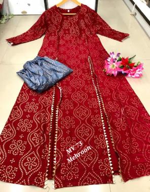 red kurti - rayon gold print length -52 |pant -rayon gold print  fabric gold print work ethnic