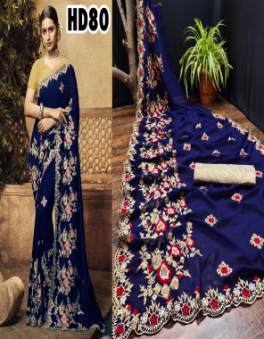 nevi blue saree -georgette with embroidery |blouse - matty silk fabric embroidery work work casual