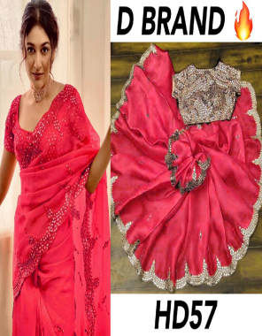 dark pink khadi organza silk fabric embroidery mirror work casual