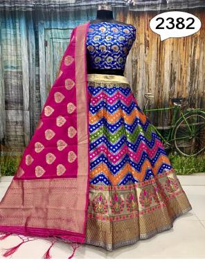 blue  lehenga -heavy brocade with cancan inner semi stitch upto 42 length 42  blouse- pure silk brocade 1m  dupatta -heavy banarasi silk 36panna  fabric weaving jacqaurd  work festive