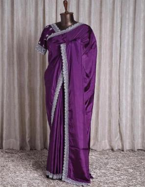 wine  saree -dola silk | blouse -banglori silk  fabric embroidery lace work  work wedding