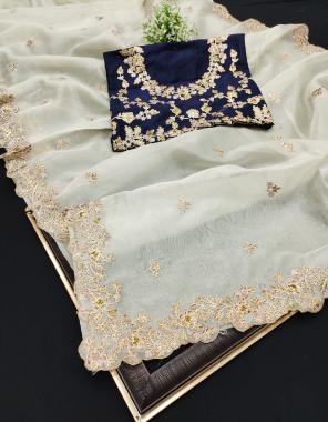 pista saree -soft organza silk | blouse -malbari silk fabric embroidery work running