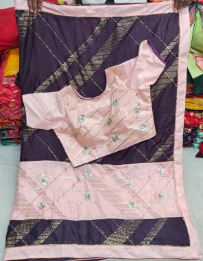 wine saree -dola silk |blouse -full stitch 38ready free size upto 42 fabric fancy work running
