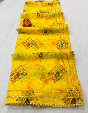 yellow chiffon fabric gotta patti border work wedding