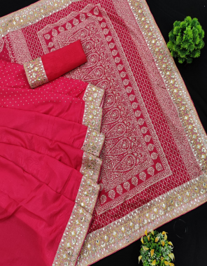 red saree -soft vichitra silk  blouse -banglori silk fabric embroidery seqeunce lace border work casual