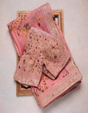 orange saree -soft organza silk digital print |blouse -banglori silk  fabric embroidery thread seqeunce work wedding