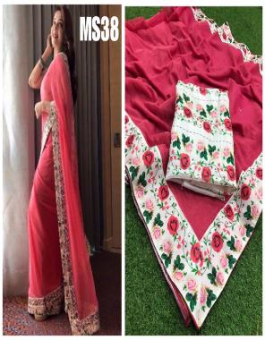 gajri  saree -chanderi silk  blouse -satin banglori fabric digital print border work running