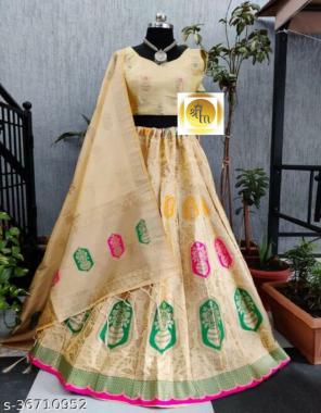 cream lehenga -banarasi brocade silk with cancan inner semi stitch  blouse -full stitched banarasi silk  dupatta -pure banarasi silk   type -full stitched fabric weaving jacqaurd work festive