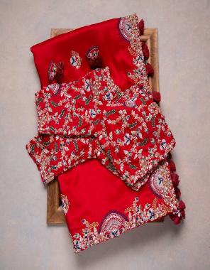 red saree -soft rangoli silk | blouse -banglori silk fabric embroidery thread dimaond seqeunce work wedding