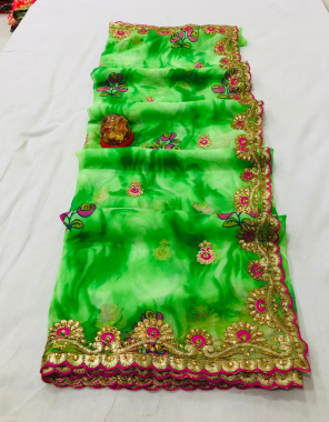 parrot georgette fabric embroidery diamond work festive