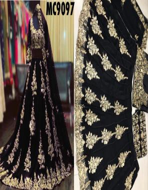 black lehenga -georgette |inner -satin silk |dupatta -georgette |waist -44+ |length -42+ |flair -2.70m | type -semi stitched fabric embroidery work running