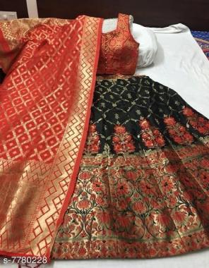 black lehenga - brocade with cancan inner semi stitch upto 42 |length- 42 |blouse -pure silk full stitch size upto 42 | dupatta -pure banarasi silk fabric weaving jacqaurd work wedding