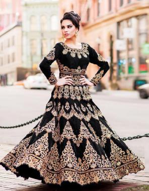 black lehenga -taffeta silk embroidery | inner-satin silk |dupatta -net |blouse -taffeta silk |waist -42 to 44 |length -40 to 42 |flair -2m | type -semi stitched  fabric embroidery work festive