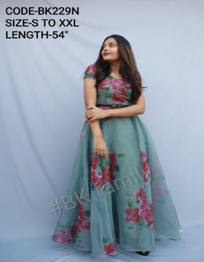 light green organza |length -52+ |flair -3.5m fabric digital printed work casual
