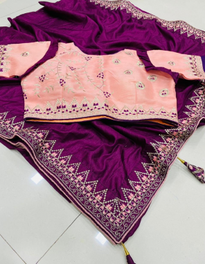 wine saree -dola silk |blouse -full stitched size - 38 ready upto 42 fabric embroidery work running