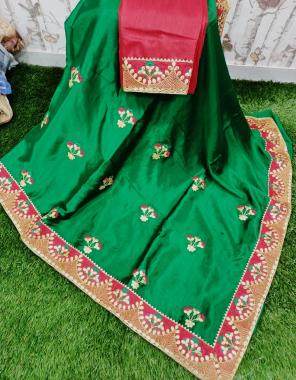 green saree -pure chinon | blouse -banglori fabric embroidery gotta patti work party wear