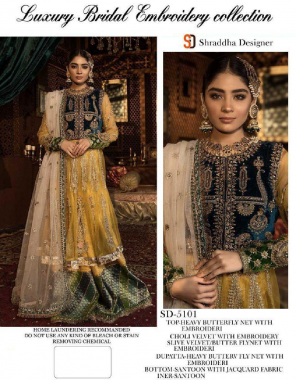 musturd top -net velvet embroidery sequance | bottom + inner -santoon |dupatta -super net |type -semi stitched |size -fit upto 50 | length -48  fabric embroidery seqeunce work ethnic