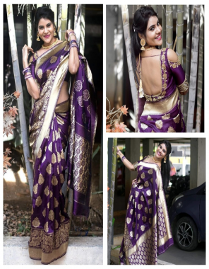 purple soft lichi silk fabric weaving jacqaurd work festive