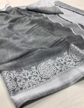grey soft linen fabric weaving lucknowi border work festive