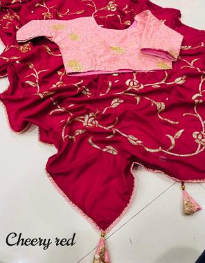 cherry red saree -dola silk  blouse -38ready size upto 40 full stitched fabric seqeunce work work running