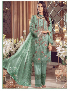 parrot top -georgette   bottom +inner-santoon  dupatta -chiffon  type -semi stitched  size -fit upto 54  length -42  fabric embroidery seqeunce work wedding