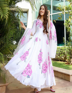 white gown -heavy georgette 52inch length  | inner -silk |dupatta -georgette fabric printed work running