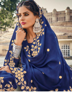blue top -pureupada silk with fancy embroidery |bottom -pure santoon |dupatta -pure chinon with embroidery work fabric embroidery  work ethnic