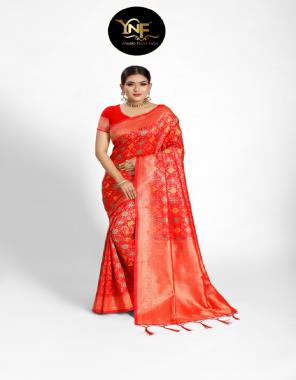 red ploy silk fabric weaving jacqaurd work running