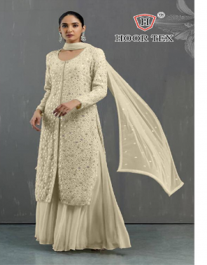 light yellow top -heavy georgette |bottom +inner -santoon |dupatta -nazmin |size -54(7xl) | type -semi stitched fabric embroidery work party wear