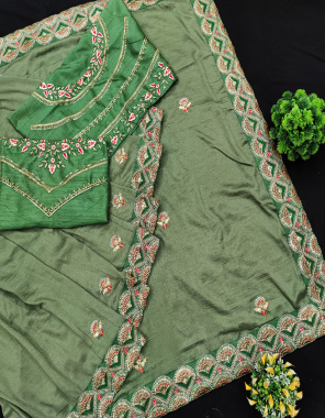light mehndi saree -vichitra silk   blouse -banglori silk fabric embroidery seqeunce work work running