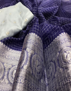 blue pure organza all over along kanchi border with seqeunce work blouse fabric chex with sequence work blouse work party wear