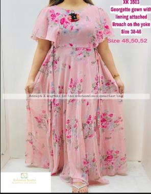 pink fox georgette length 54 flair 3.5m fabric digital print work ethnic