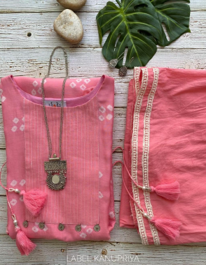 pink fox georgette kurti with palazzo fabric bandhani print work running