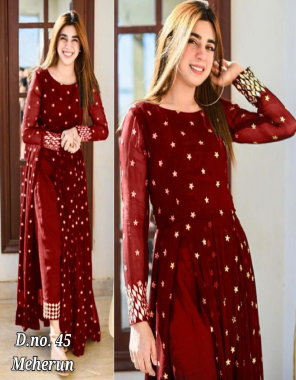 red top -heavy georgette with full inner |bottom -heavy silk fabric embroidery work wedding
