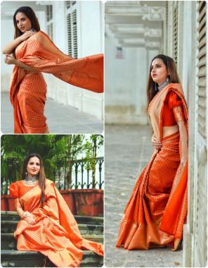 orange banarasi lichi silk fabric weaving jacqaurd work casual