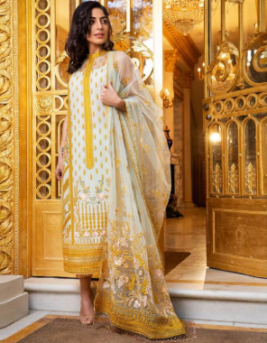 white yellow top -super net with beautiful embroidery work  bottom +inner -santoon  dupatta -super net  type -semi stitched  size -fit upto 58  length -45  fabric embroidery work wedding