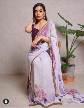 light purple saree -royal georgette |blouse -banglori fabric digital print lace border work wedding